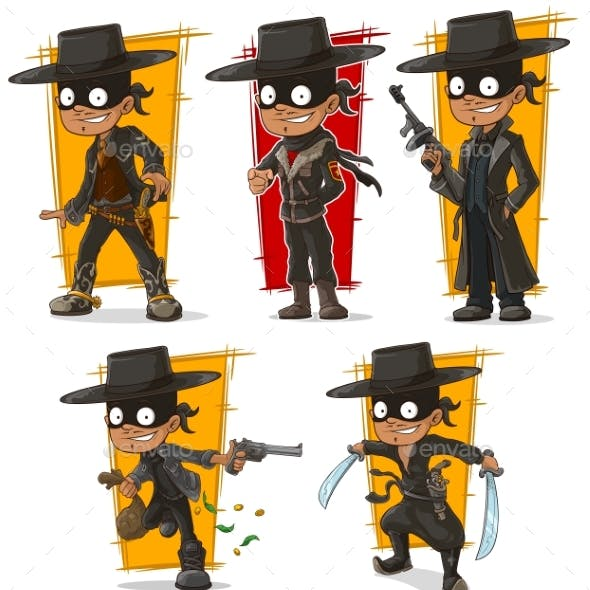 Cartoon Bandit in Black Mask Character Vector Set