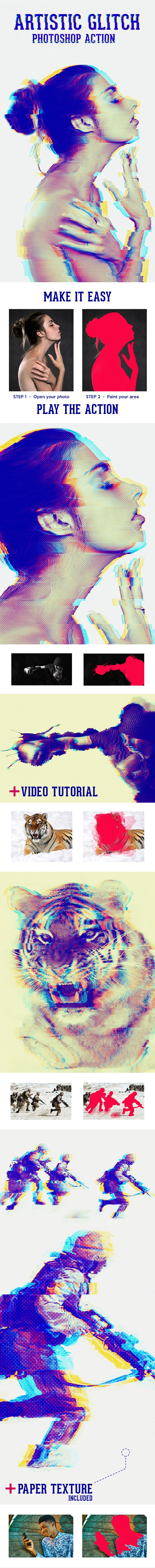 Artistic Glitch Photoshop Action - Photo Effects Actions