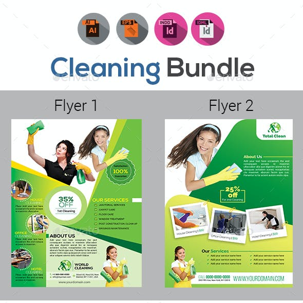 Cleaning Service Flyer Template Bundle