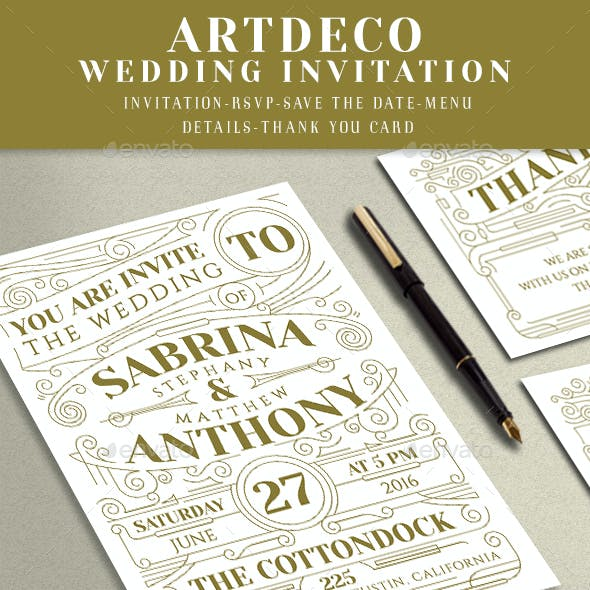 Artdeco Wedding Invitation