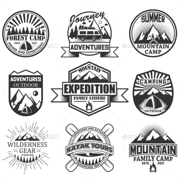 Vector Set of Camping Objects Isolated on White