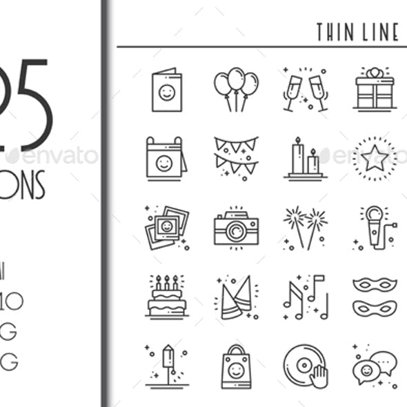 25 Birthday Party Celebration icons