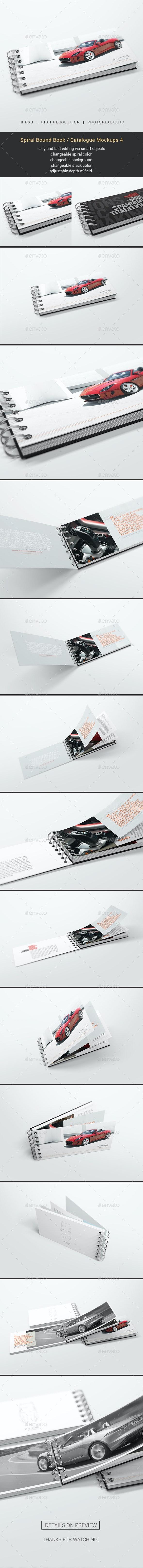 Spiral Bound Book / Catalogue Mockups 4 - Books Print