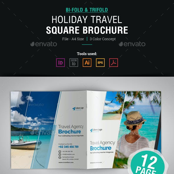 Holiday Travel Square Bifold & Trifold Brochure