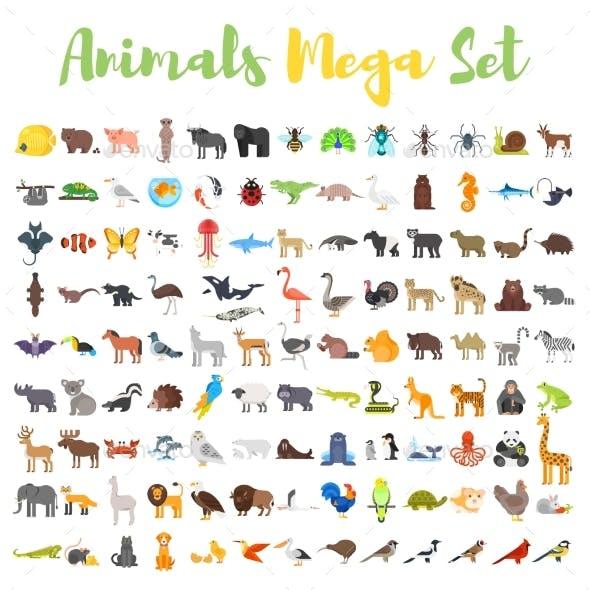 Flat Style Set of Animals