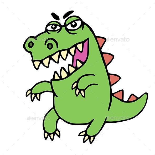 Angry Cartoon Dinosaur