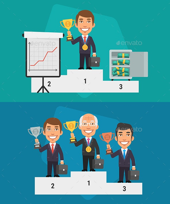 Winner Podium Businessman Hold Cup - People Characters