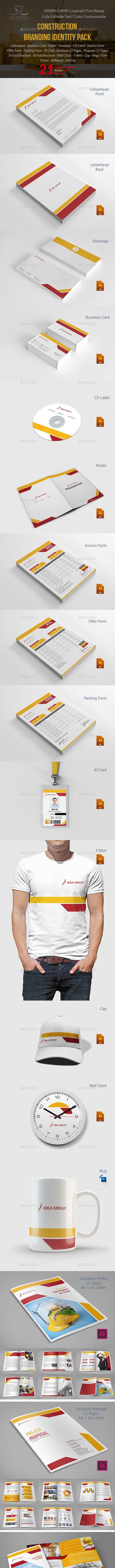 Construction Company Branding Identity - Stationery Print Templates