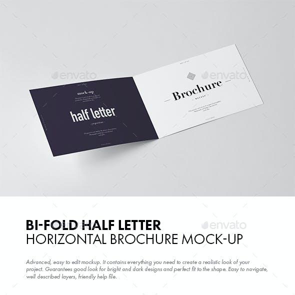 Bi-Fold Half Letter Horizontal Brochure Mock-up