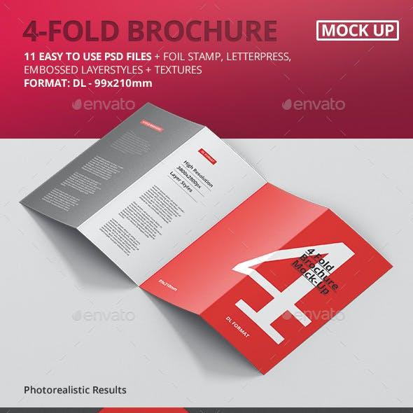 4-Fold Brochure Mockup - DL 99x210mm