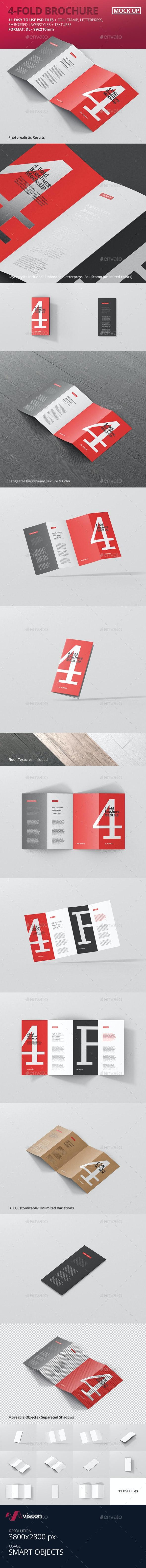 4-Fold Brochure Mockup - DL 99x210mm - Brochures Print