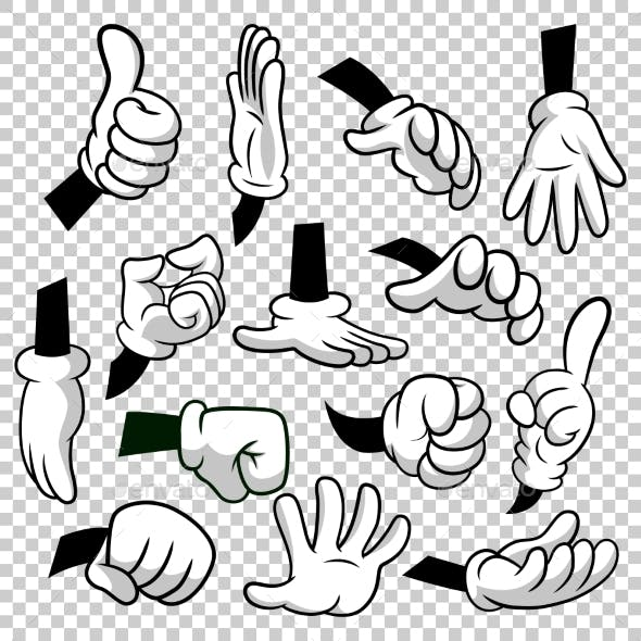 Cartoon Hands with Gloves Icon Set Isolated