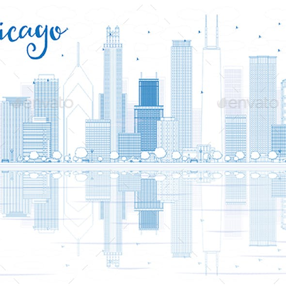 Outline Chicago Skyline with Blue Buildings and Reflections