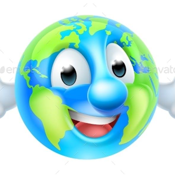 Cartoon World Earth Day Thumbs Up Globe Character