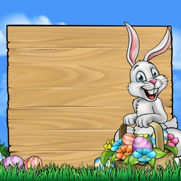 Cartoon Easter Bunny Background Sign