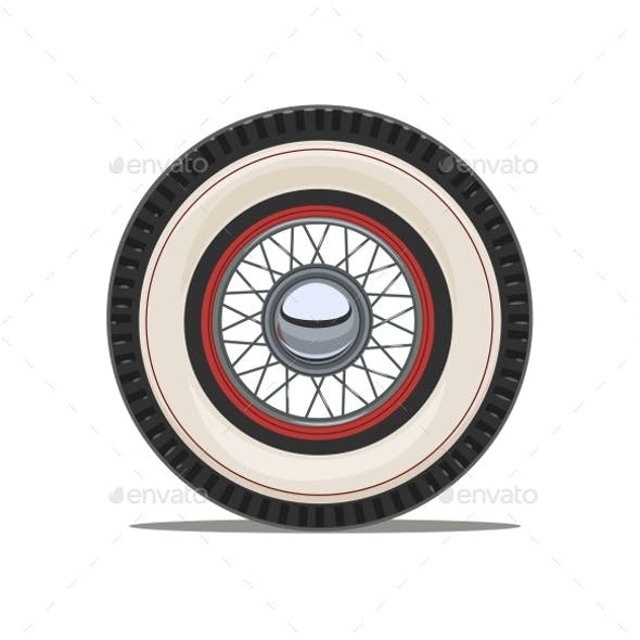 Vintage Car Wheel with Spoke Vector Illustration