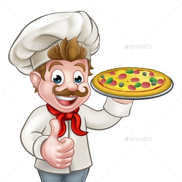 Cartoon Pizza Chef Character Mascot