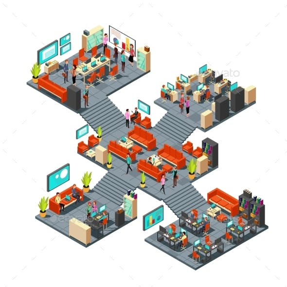 Isometric Business Offices with Staff