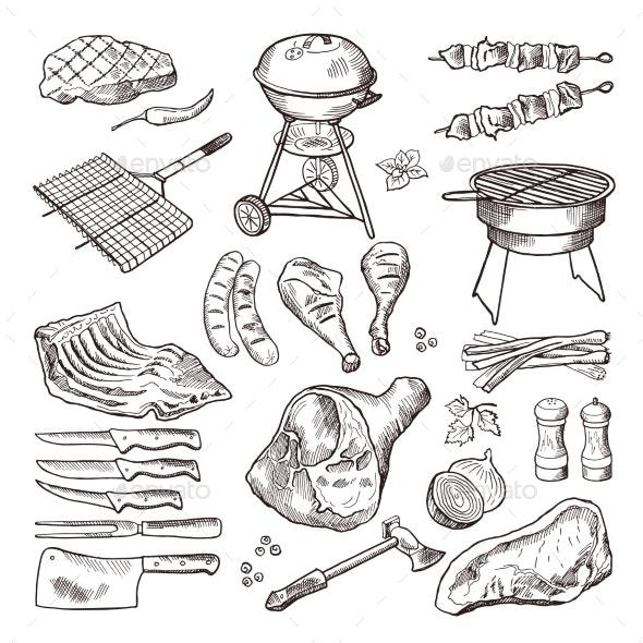 BBQ Vector Hand Drawn Illustration Set - Food Objects