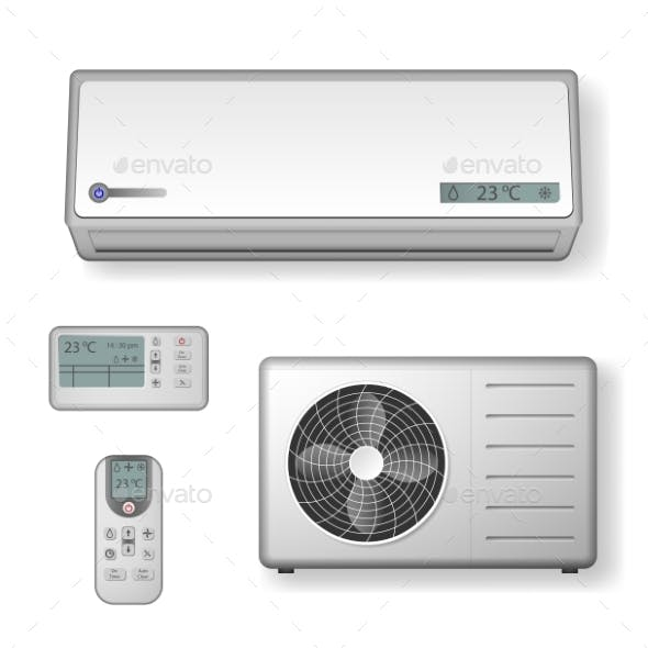 Realistic Set of Air Conditioner with Cooling