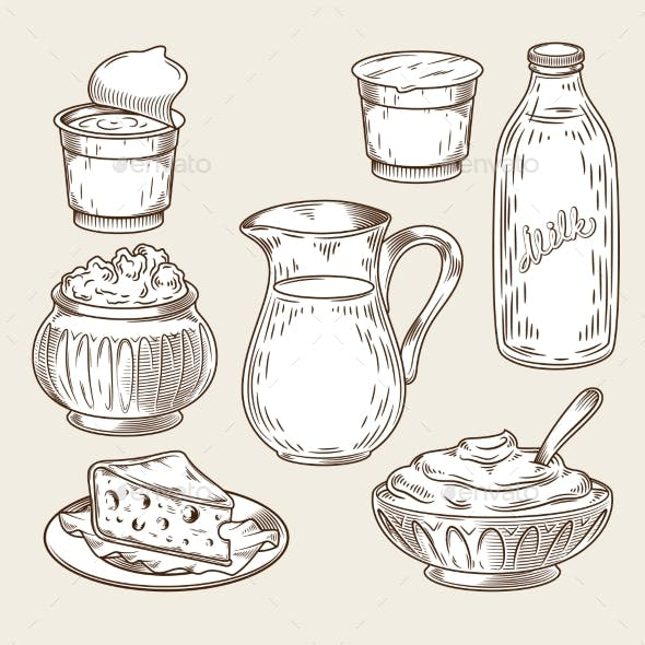 Vector Illustration of a Set of Dairy Products