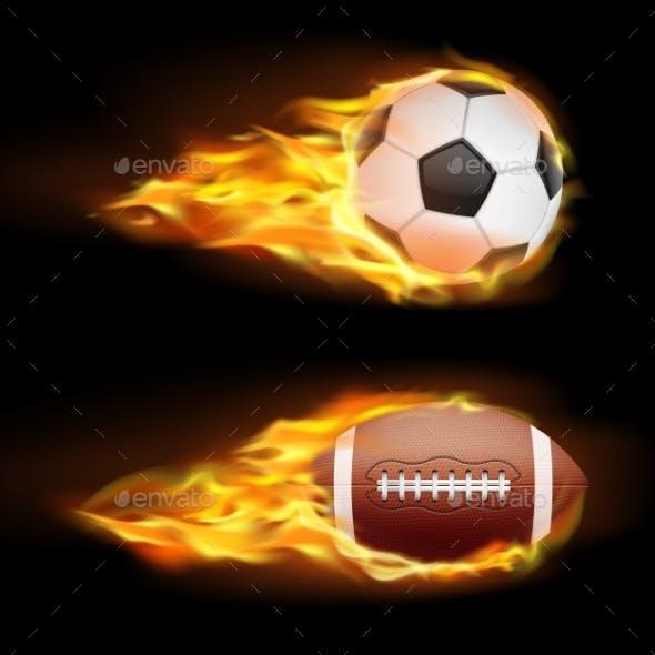 Vector Set of Sports Burning Balls