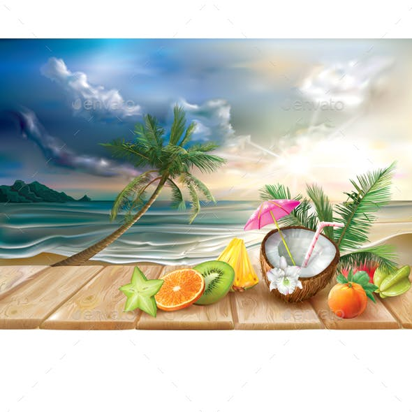 Cocktail and Tropical Fruits on a Sea Background