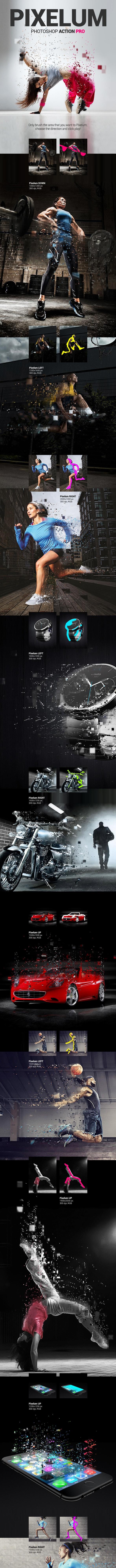 Pixels Dispersion - Pixelum - Photoshop Action - Photo Effects Actions