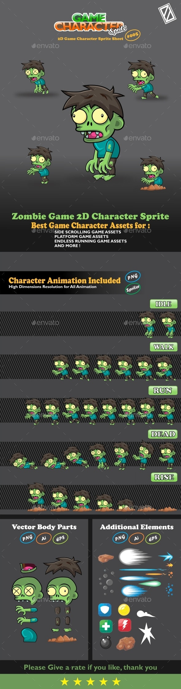 Zombie Game 2D Character Sprite - Sprites Game Assets
