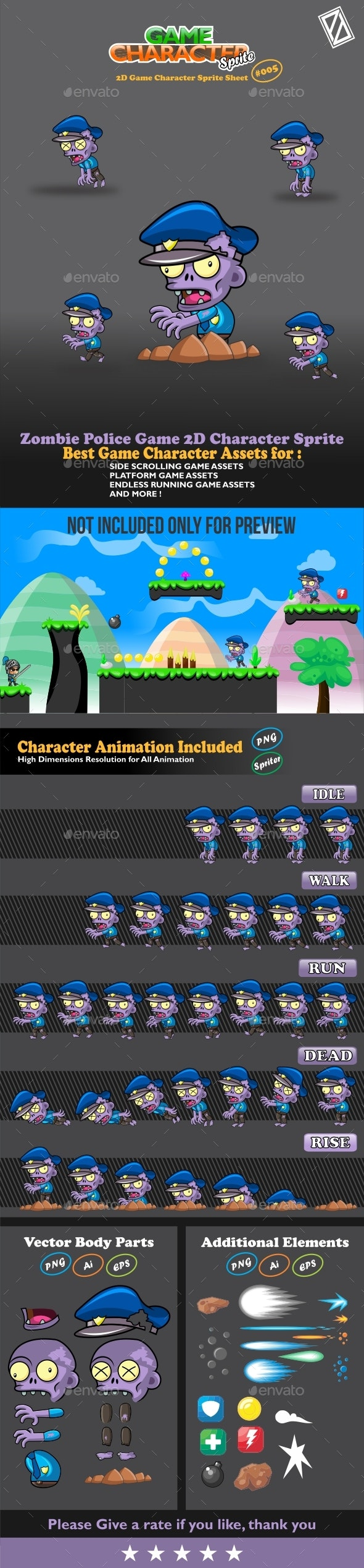 Zombie Police Game 2D Character Sprite - Sprites Game Assets