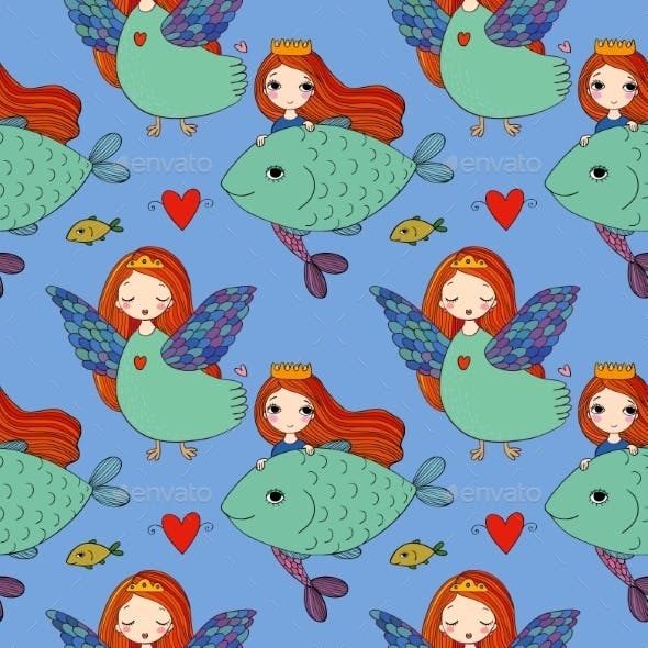 Pattern with Girl Sirin and Mermaid.