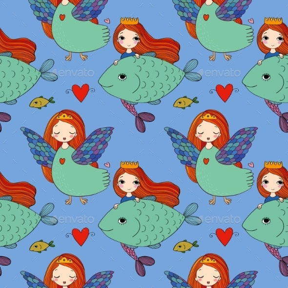 Pattern with Girl Sirin and Mermaid. - Miscellaneous Vectors