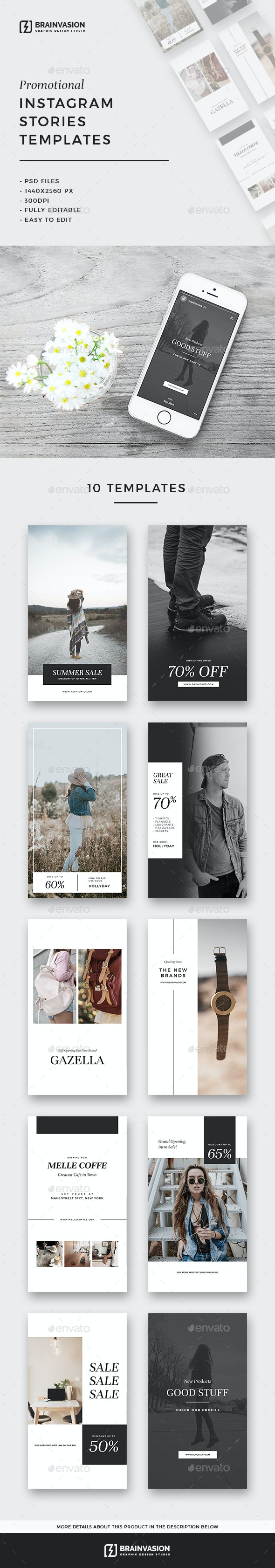 Promotional Instagram Stories Templates - Social Media Web Elements
