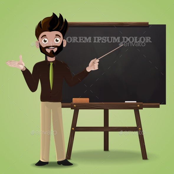 Teacher Pointing Blackboard - People Characters