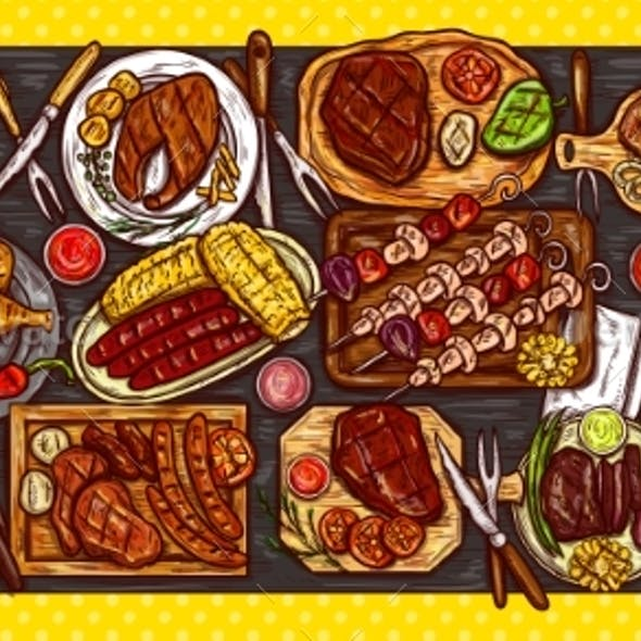 Culinary Banner with Barbecue