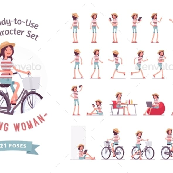 Ready-to-Use Young Woman Character Set