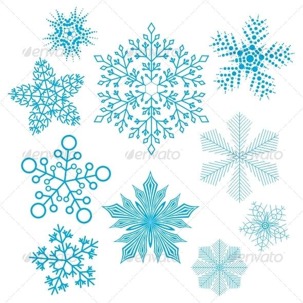 Vector set of snowflakes - Decorative Symbols Decorative