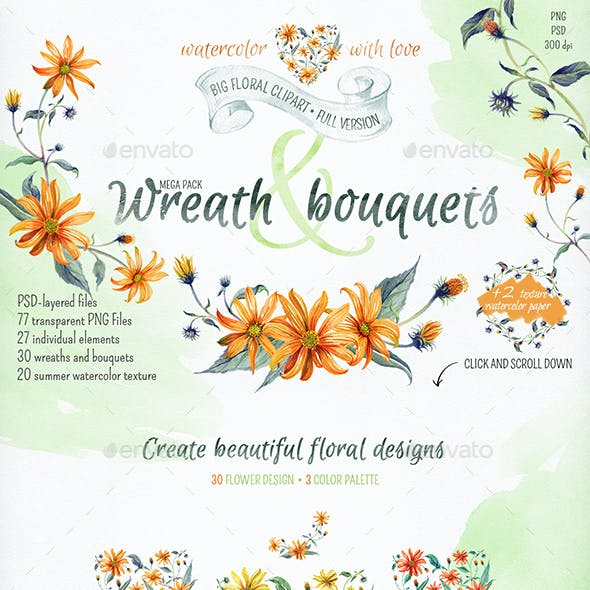 Watercolor wreathes and flowers. Full version