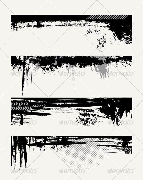 Set of grunge edges - Borders Decorative