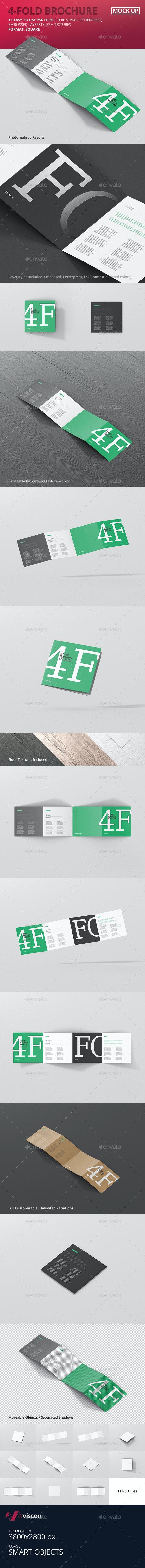 4-Fold Brochure Mockup - Square - Brochures Print
