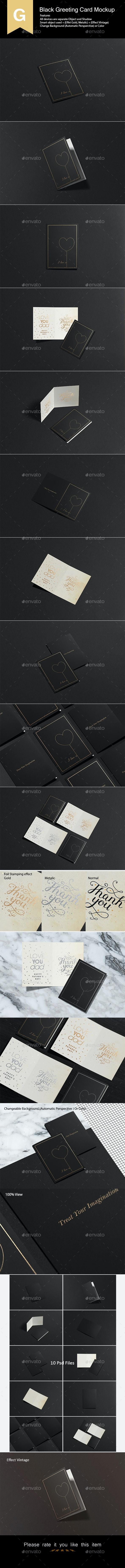 Black Greeting Card Mock-Up - Product Mock-Ups Graphics