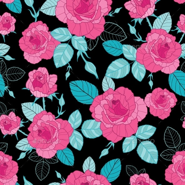 vector vintage pink roses and blue leaves on black by oksancia graphicriver https graphicriver net item vector vintage pink roses and blue leaves on black 20200100