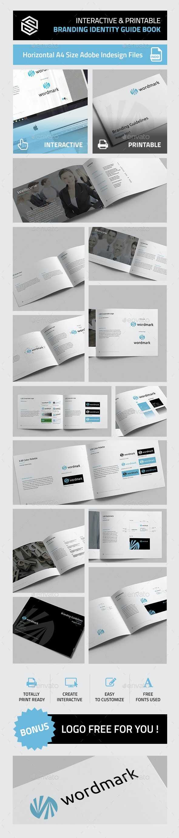 Interactive & Printable Branding Identity Guidelines Book - Corporate Brochures