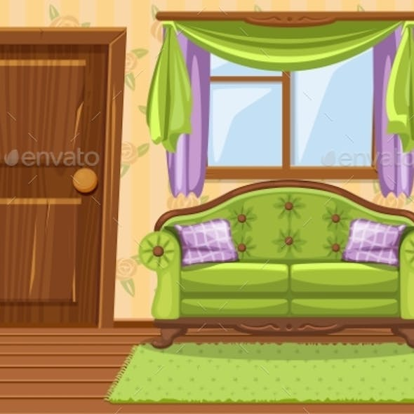 Set Cartoon Green Vintage Cushioned Furniture