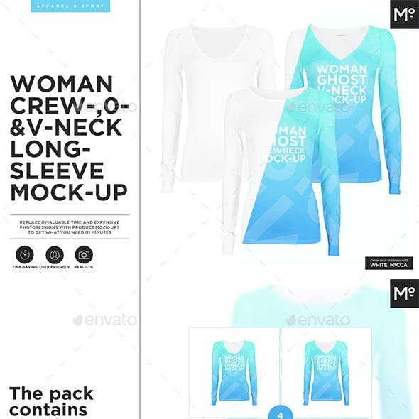 Woman Crew- O- V-neck Longsleeve Ghost Mockup