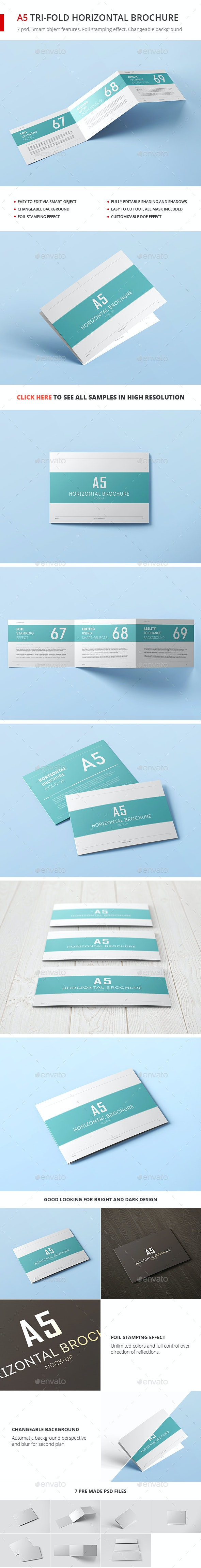 A5 Tri-Fold Horizontal Brochure Mock-up - Brochures Print