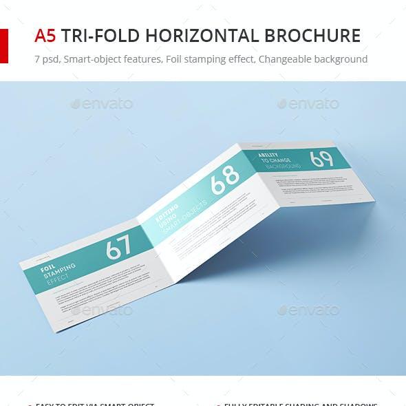 A5 Tri-Fold Horizontal Brochure Mock-up