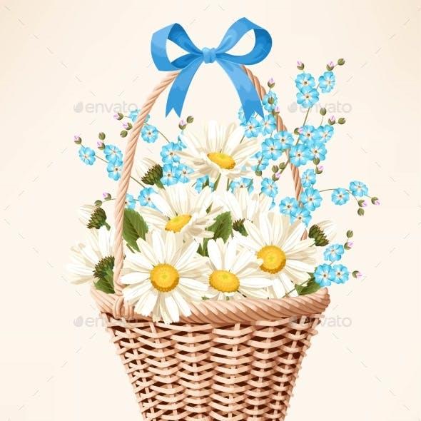 Vintage Basket with Flowers