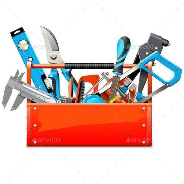 Vector Toolbox with Hand Tools