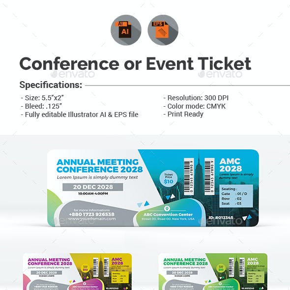 Event Summit Conference or Event Ticket Template